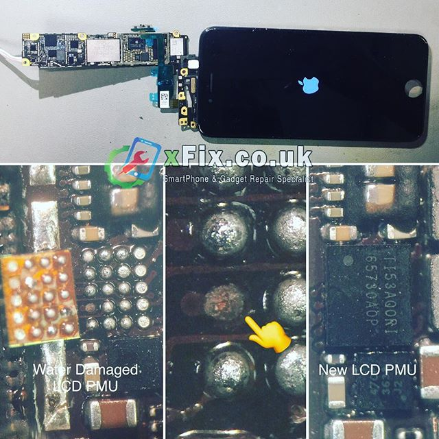Water damaged iPhone 6 LCD Display PMU IC Chip U1501 TI5BC5SJI Replacement 🔬. . #xfix.co.uk