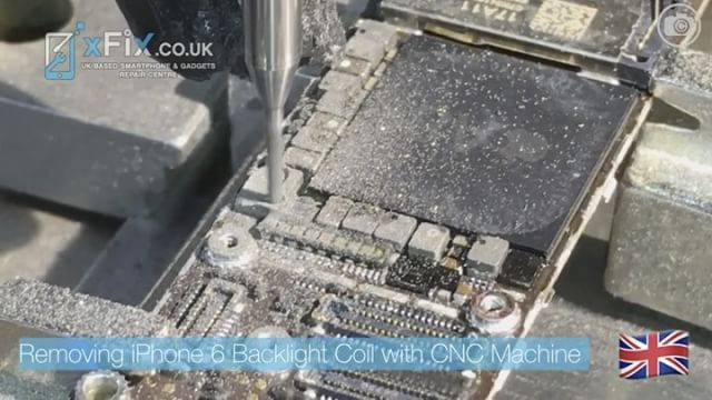 Removing iPhone 6 Backlight Coil L1503 by CNC MACHINE
