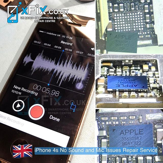 "iPhone 4s with Sound/Mic issues has been repaired after Sound IC""338S0987"" Replacement . For book your repairs please contact us: ️Email: info@xfix.co.uk ️Tel : +44-7507711117 🌎 Web: www.xFix.co.uk ."