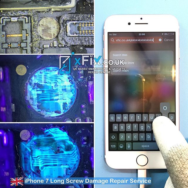 Repairing an iPhone 7 with Long Screw Damage and Touch Screen Not Working . .