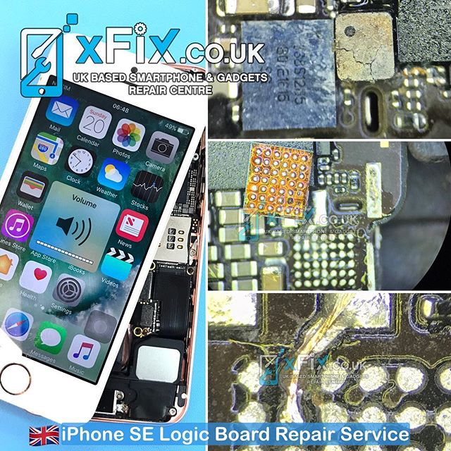 Replacing the Sound Amplifier IC on a Water Damaged iPhone SE to solve the Loud Speaker issue .
