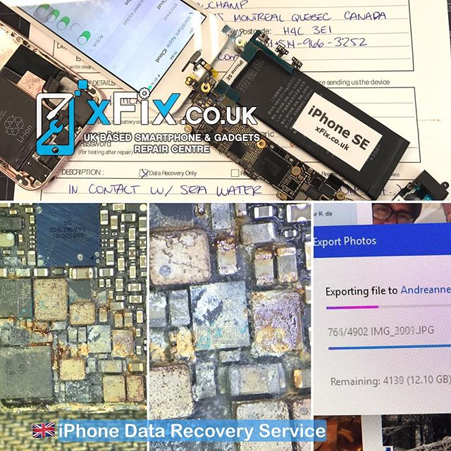 Recovering 12GB Data from Water Damaged iPhone SE Sent from Quebec, Canada mailinrepair