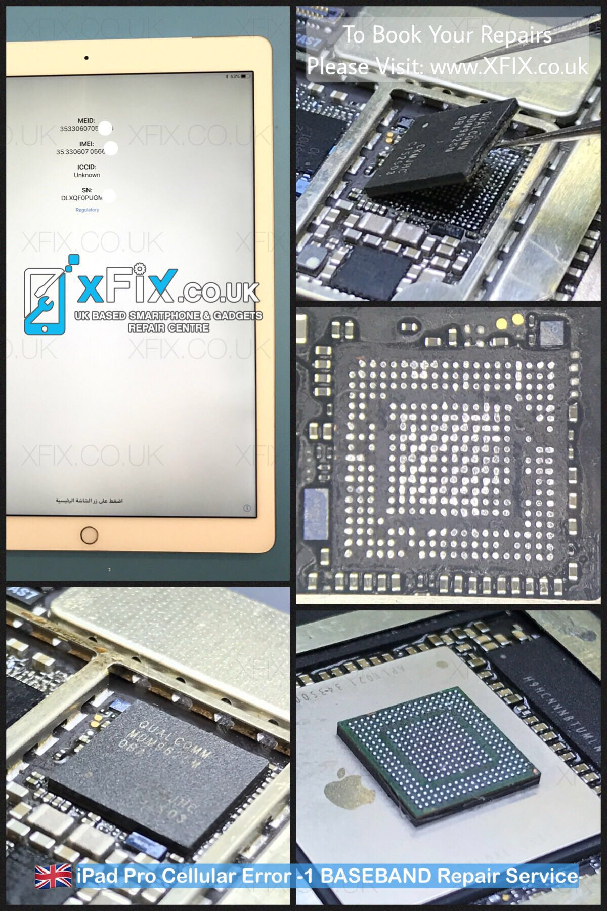 Fix iPad Pro 12 9 3G/Cellular Error -1 BASEBAND IC (Reballing)